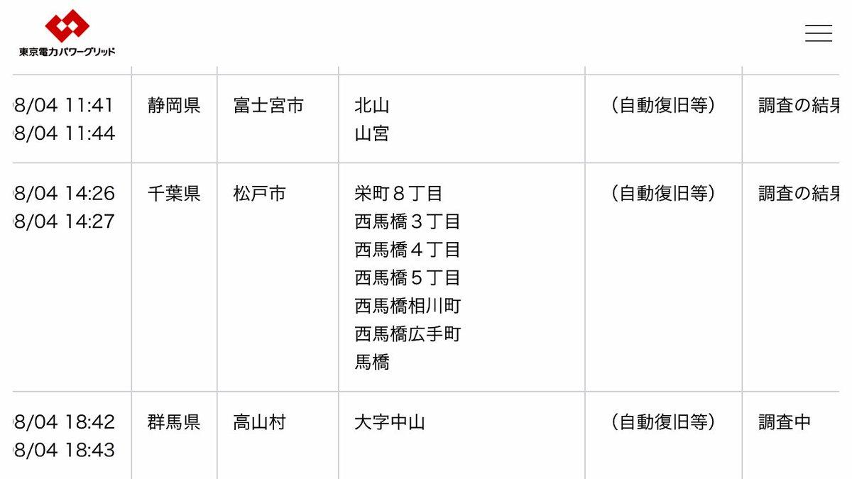 東京 電力 停電 履歴