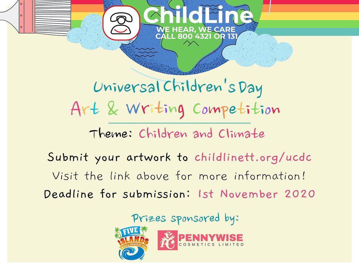 Today ChildLine launches its first national art and writing competition! In celebration Universal Children's Day 2020, we invite all persons 25 and under to participate for a chance to win cool prizes! Visithttp://childlinett.org/ucdcto find out more! #childrensday #ucdcpic.twitter.com/jhcbTgqOhN