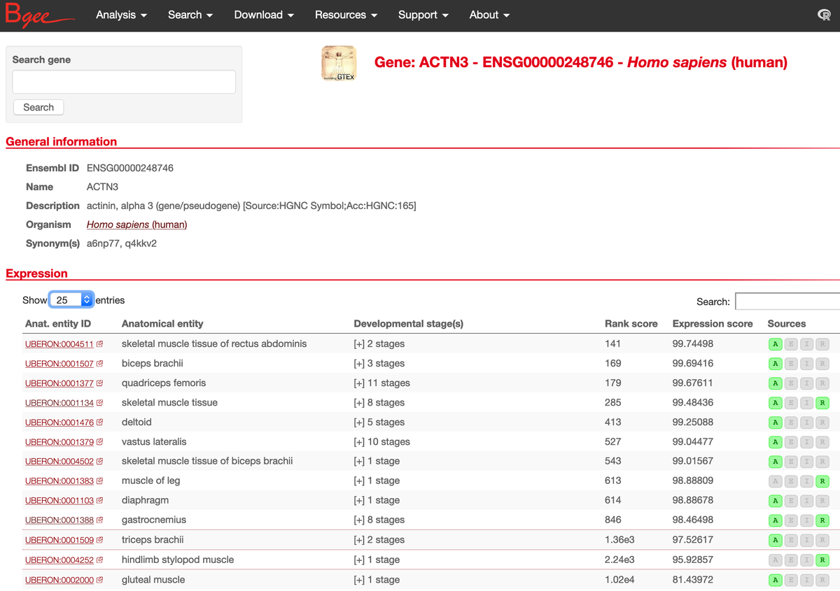 #ACTN3 human actinin alpha 3 #geneoftheweek @ensembl has high expression in a range of skeletal muscles. Notice how much more detailed information is brought by integrating not only #RNAseq but also heritage microarray data. https://t.co/CPnWbDGIVV https://t.co/8GczZ0eAp9
