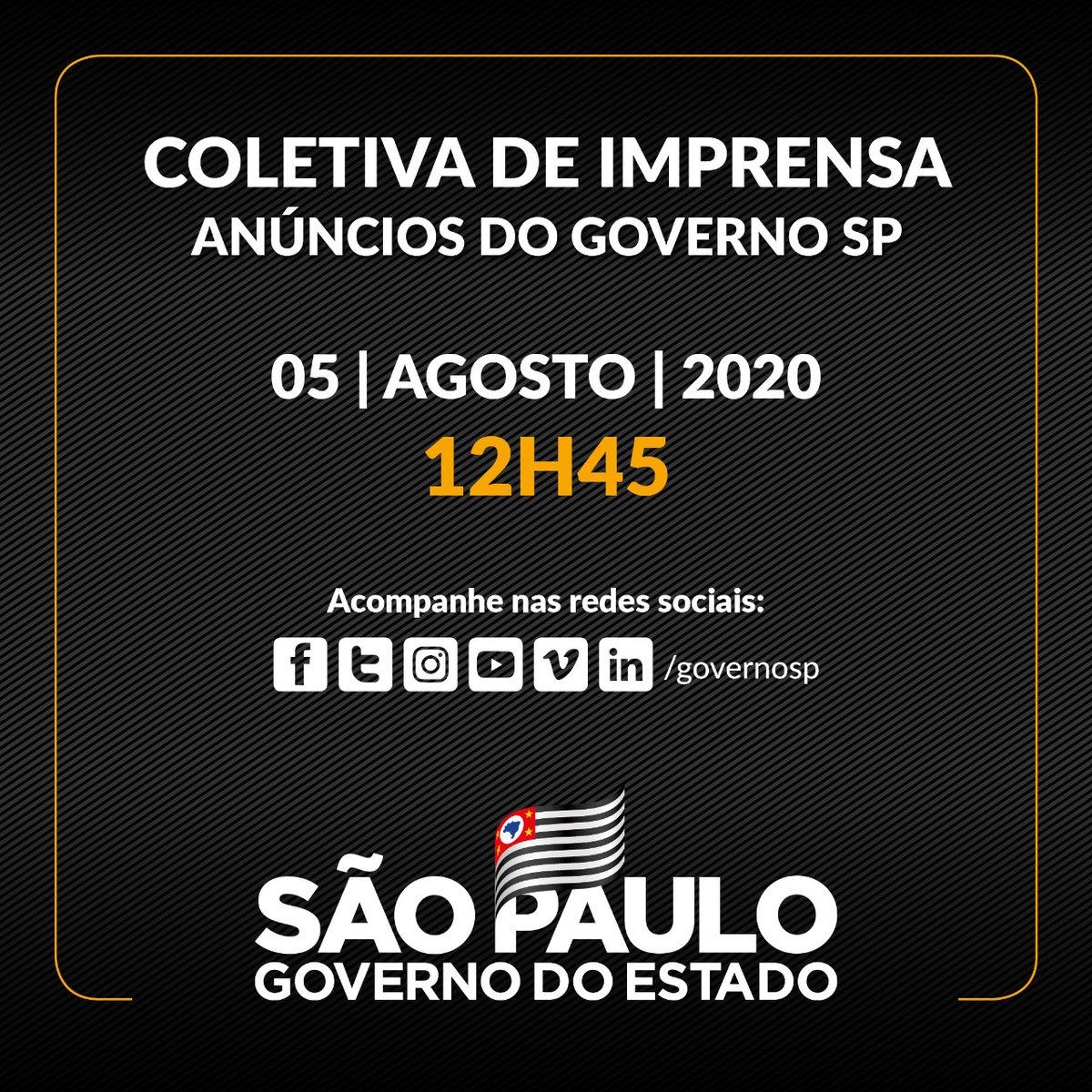 🎙️Coletiva de imprensa Governo de São Paulo   ✅ Hoje (5/8), às 12h45  ➡️ Acompanhe nas redes sociais https://t.co/rDBSUuiUvh