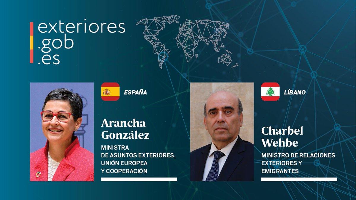 La ministra @aranchaglezlaya ha mantenido una conversación telefónica con el nuevo MAE de #Líbano, Charbel Wehbe, a quien ha expresado la solidaridad de #España con el pueblo libanés tras la explosión de ayer en #Beirut, así como el apoyo para la reconstrucción.   🇪🇸 🤝 🇱🇧 https://t.co/vwqsn8Y6lv