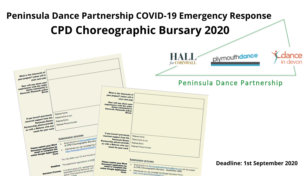Have you seen the NEW Peninsula Dance Partnership CPD Choreographic Bursary 2020??  Deadline: 12 noon 1st September 2020  Find out more and apply here: https://plymouthdance.org.uk/blog/2020/07/29/peninsula-dance-partnership-choreographic-bursary-2020/ …  @PeninsulaDanceP @HallforCornwall @danceindevon @ace_national @PDSW_org @onedanceukpic.twitter.com/4pXemb9aYn