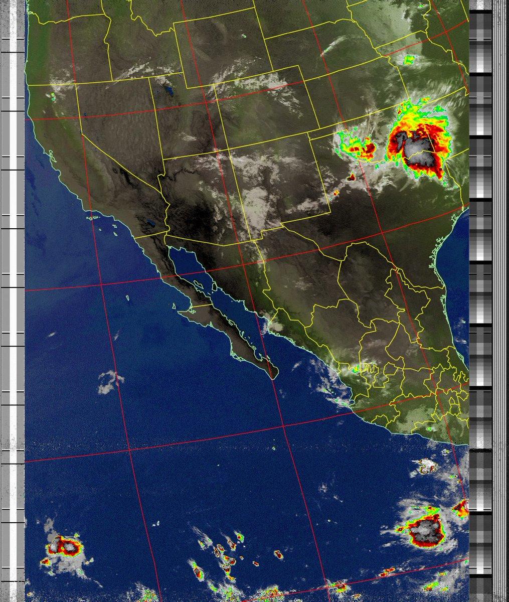 Satellite Image: NOAA 19 05-08-2020 08:33. Max Elevation: 35 Degrees. #NOAA #weather #TXlisteningpostimages #noaasatellite #RTLSDR #raspberrypipic.twitter.com/CUDarrE1GJ