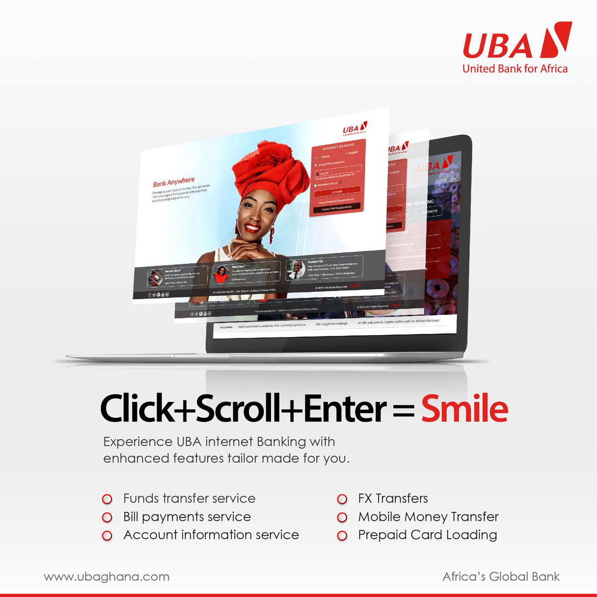 Experience the awesomeness of banking on the internet via the #UBAInternetBanking service.  Learn how to self enroll here: https://t.co/r9ziJ9zriQ Click here to get started: https://t.co/JsmFpOy8Rh #StaySafe #LeoMagic #AfricasGlobalBank https://t.co/ImM0RpA931