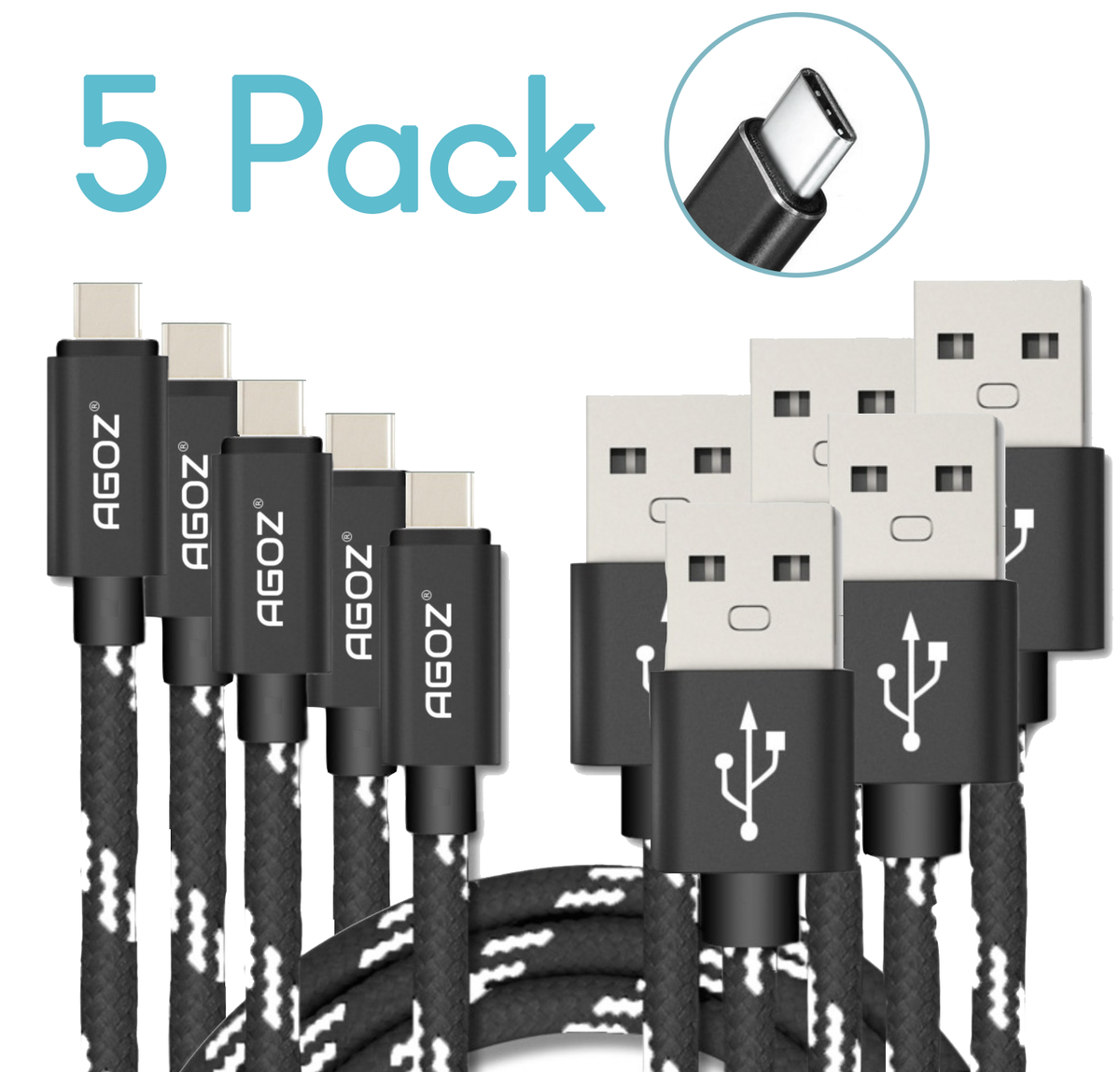 5 Pack USB-C Cable FAST Charger Type-C Braided Data Sync Cord for ZTE Smartphone - https://t.co/KBCL4wt7NY https://t.co/uAFzITyFzs