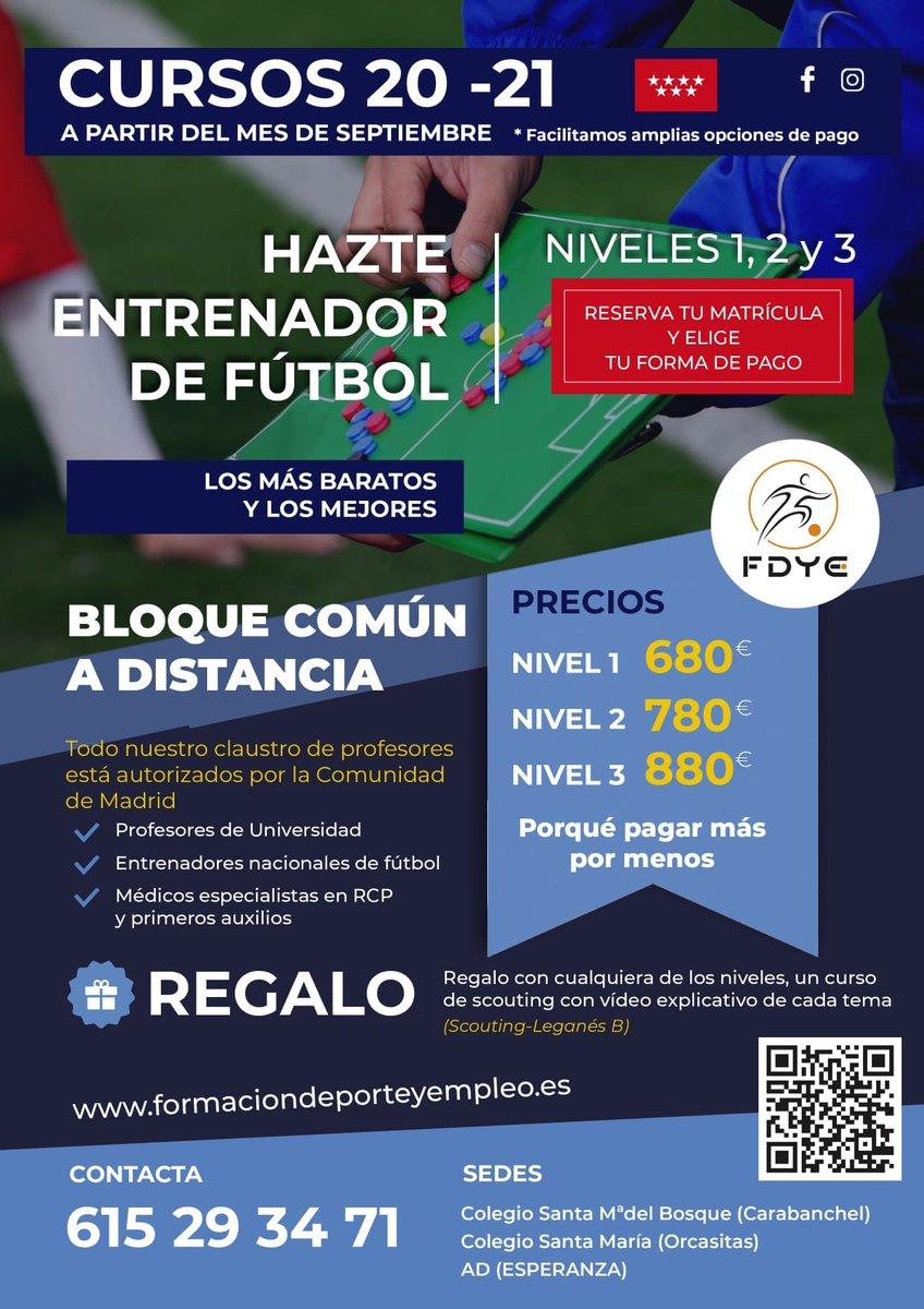 Convocados por @fdyeed los cursos de entrenador de fútbol @FutMadrid  de la temporada 2020/21. Bloque común a distancia. Los más baratos de la @ComunidadMadrid : - Nivel 1: 680 euros - Nivel 2: 780 euros - Nivel 3: 880 euros. Oferta especial para féminas. https://t.co/8HZ9Nkq8c3