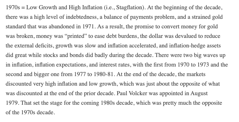 Not that I'm much of a fan of Dalio but thought this post was a masterpiece.  https://www.linkedin.com/pulse/paradigm-shifts-ray-dalioOften just re-read it as gives a great overview of market history