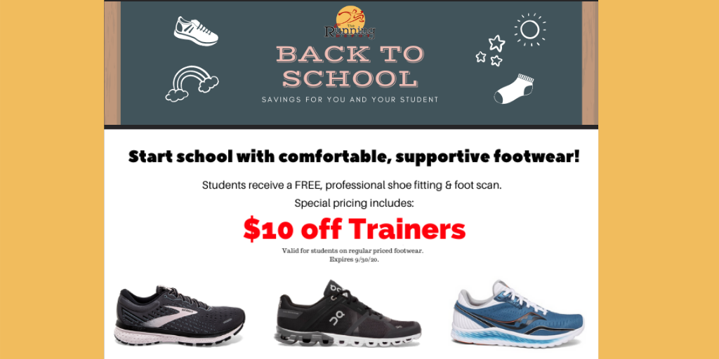 Hey students...we have back to school savings for you! Start the school year with comfortable and supportive shoes! Multiple brands and styles to choose from #Asics #Altra #Brooks #Hoka #ONRunning #Saucony https://t.co/FUywWxNxOC