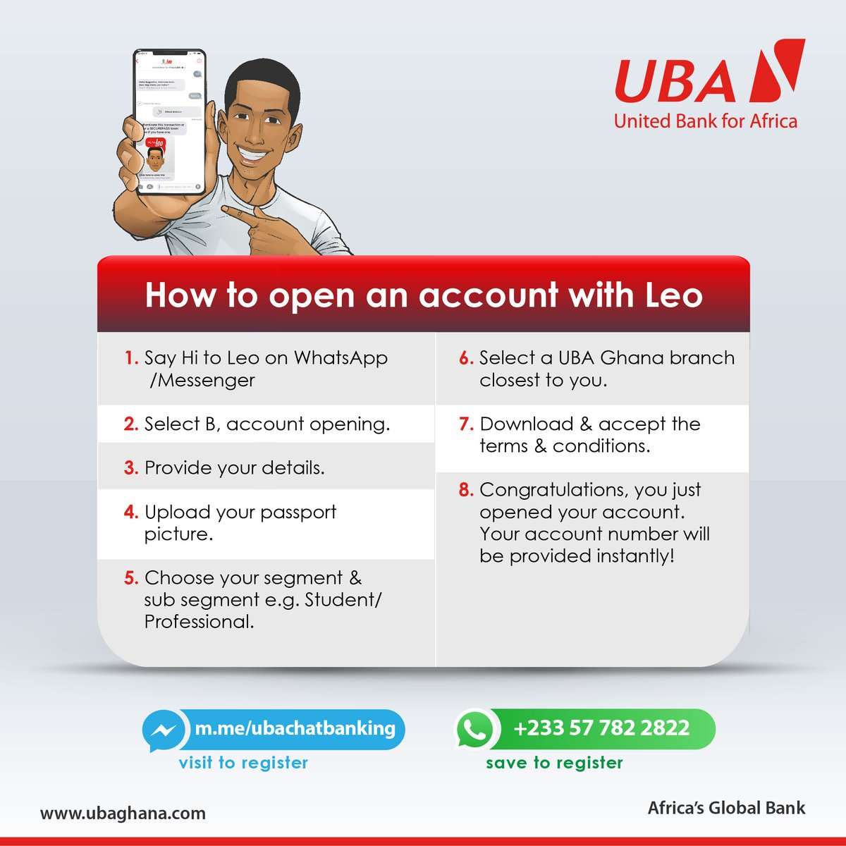 Do you wish to open a bank account without visiting the bank?  Leo can make that happen in just 5 minutes. Click here: https://t.co/WQRsdQVFz9 to get started. #LeoMagic #AfricasGlobalBank #StaySafe https://t.co/4mFS435Is1