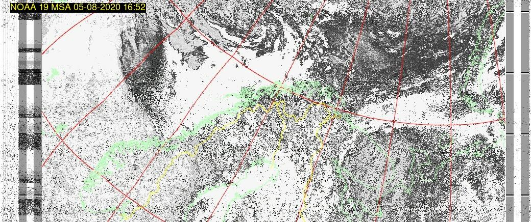 Wetter Satellit: NOAA 19 05-08-2020 16:52. Elevation maximal: 21 Grad. #NOAA #weather #noaasatellite #clima #wxtoimg #rtlsdr #raspberrypi #germany #wetterpic.twitter.com/IFtFRtffQU