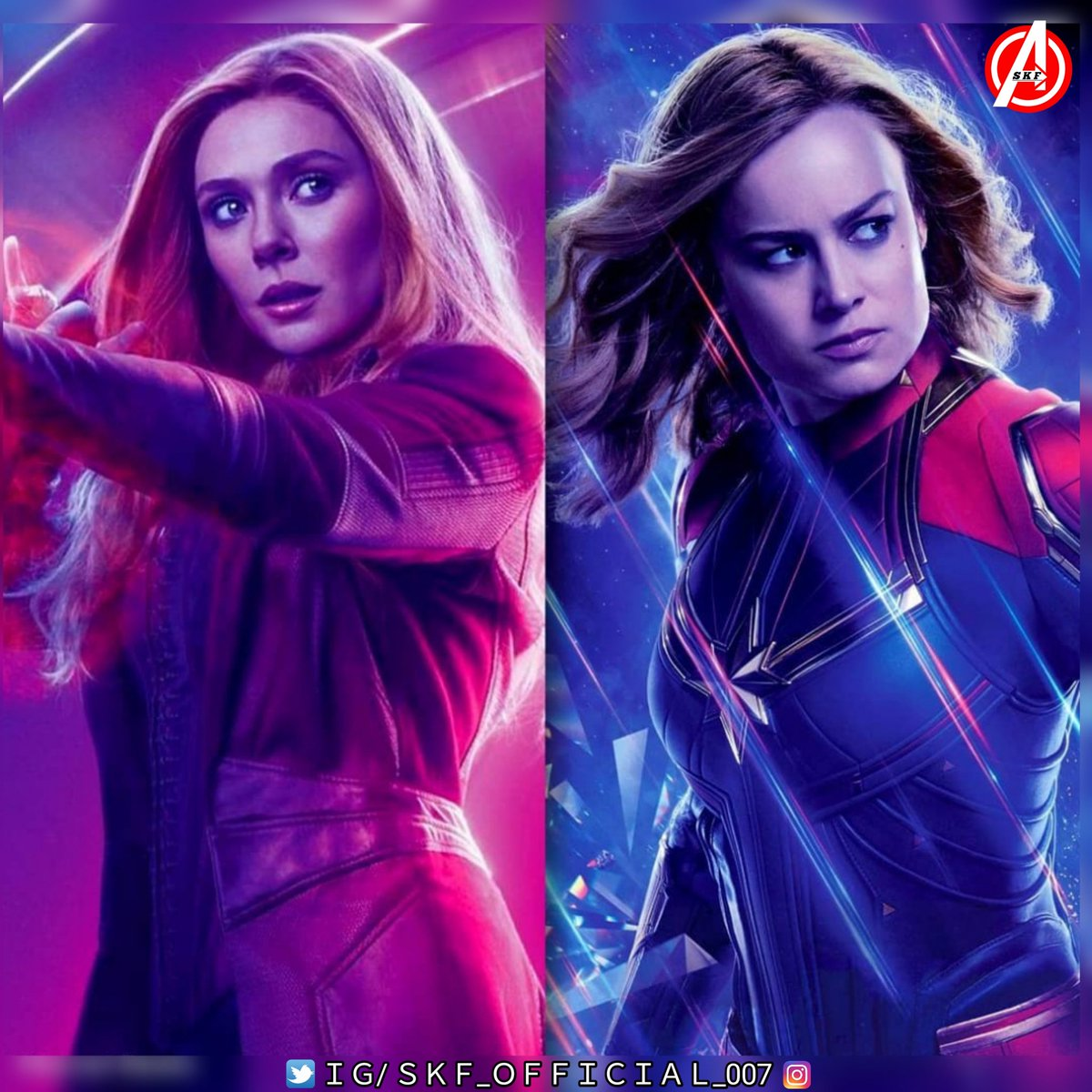 """Who is the actual """"Strongest Avenger ? Wanda maximoff ? or carol Danvers ? Comment your thoughts.#SKF_OFFICIAL_007 #mcu_qoutes #elizabetholsen #brielarson #wanda #captainmarvel #ageofultron #SKF_OFFICIAL_007 @riyadhtalukder7 @BeingRadhe20 @BeingDevilal @BeingSKTrends @beingsaud17pic.twitter.com/KFAWaxlWFf"""