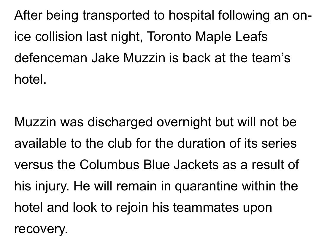 An update on @MapleLeafs defenceman Jake Muzzin: