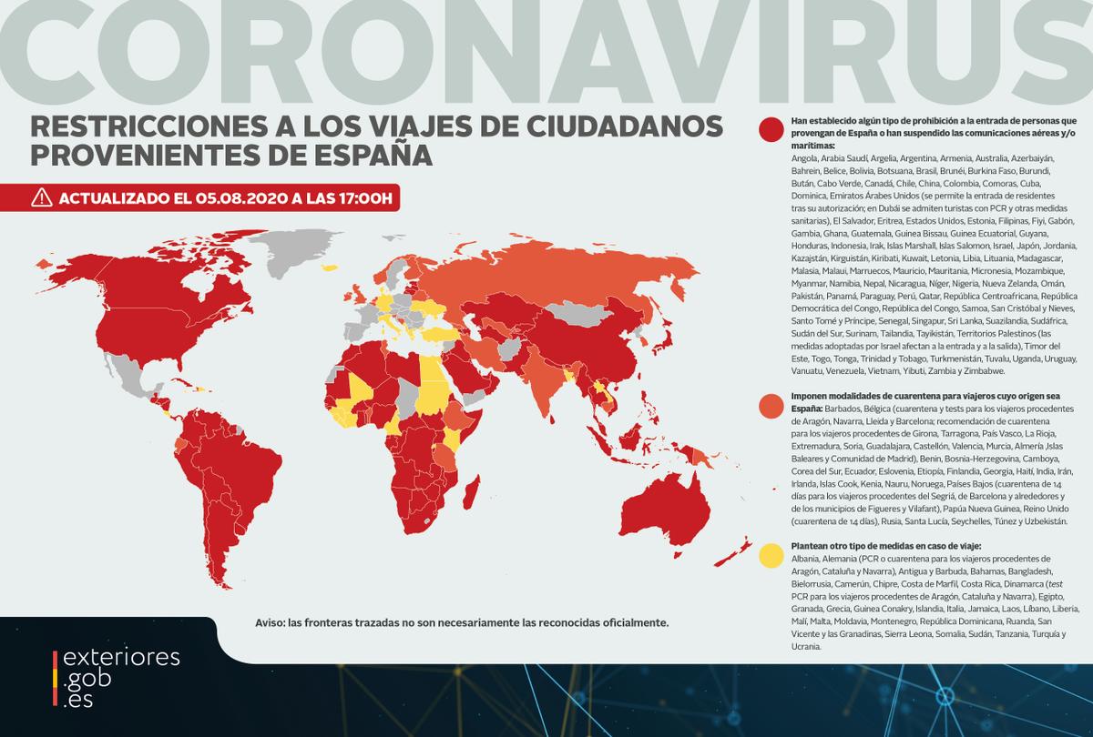 ✈️🚫Restricciones a los viajes de ciudadanos provenientes de #España ⤵️  ℹ️ Consulta en nuestra web la lista actualizada a las 17:00 horas de hoy:  ➡️https://t.co/PuaK2XGcNS https://t.co/7iyPVx8Wuf