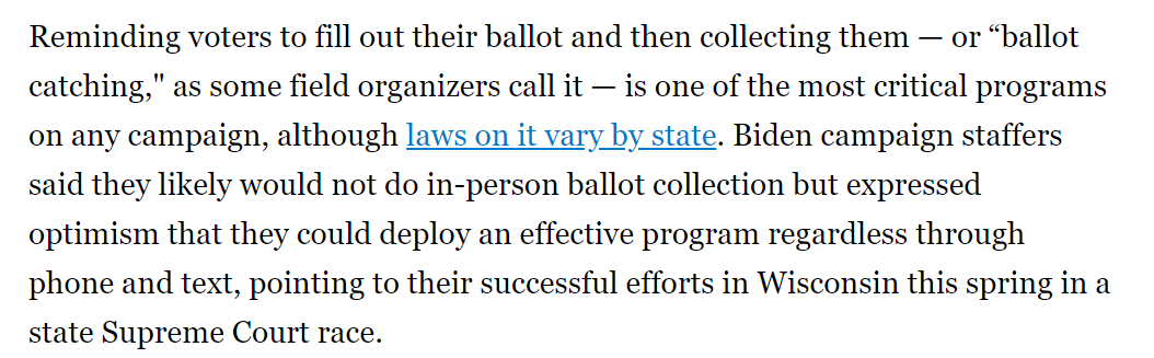 I cant stop thinking about this Politico report (by @AlxThomp) Trump campaign knocks on doors: 1 million per week Biden campaign knocks on doors: zero Plus this line about Trump campaigns doing in-person ballot collection, and Biden campaign not.👇 politico.com/news/2020/08/0…