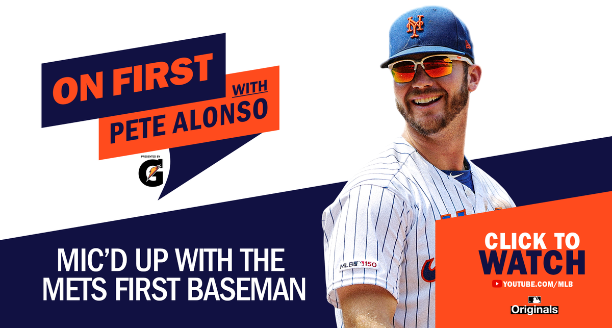 Check out the first episode of On First with @Pete_Alonso20 as he is mic'd up at first base.   👂👉 https://t.co/clkmbCeRen https://t.co/3oDC6vmZYn