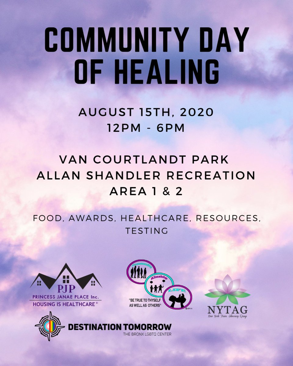 """We the committee of 4 Executive Directors of Black Transgender Lead Organizations, are requesting your presence at our """"Community Day of Healing Event"""".Join PJP alongside  @Dest2morrow  @NYTransAdvocacy @only1cklife  #BlackTransLivesMatter #CommunityHealing pic.twitter.com/fp2vSBvC3V"""