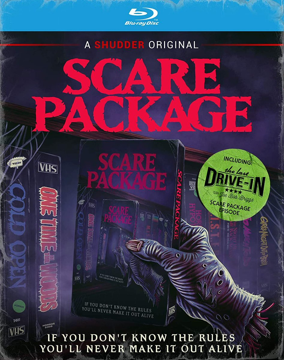 Since some sites teased it, I suppose I'll announce that yes, the @ScarePackage DVD/Blu is coming Oct 20th! And that includes #TheLastDriveIn ep!  More fun surprises I won't spoil, but here's the cover art & pre-order: https://t.co/bABIH1Nr8O @therealjoebob @kinky_horror @Shudder https://t.co/Jd3WRYY7Ig