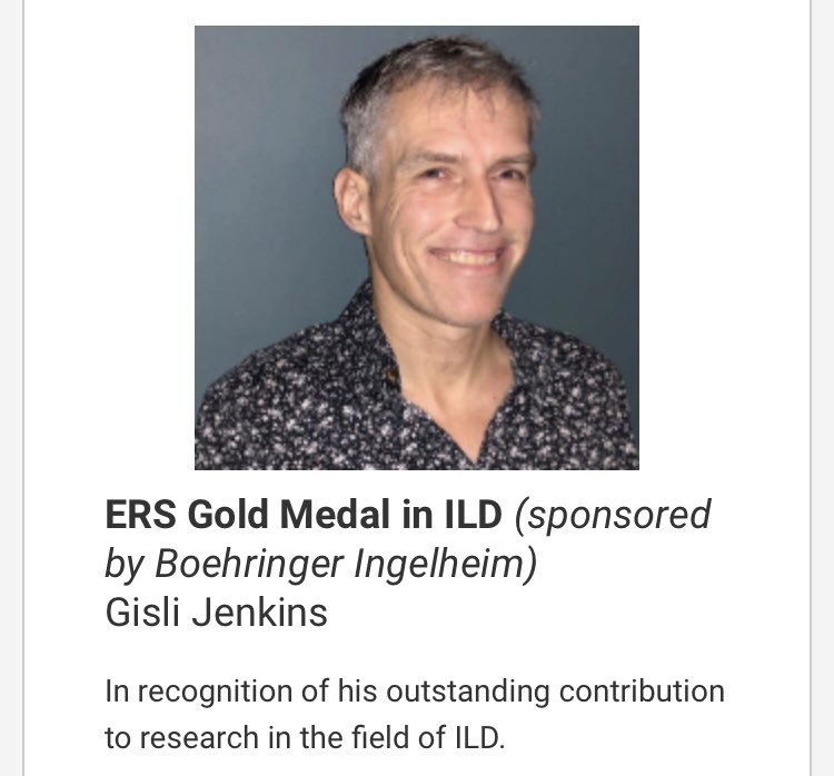 Congratulations @IPFdoc on being awarded the ERS Gold Medal in ILD in recognition of your outstanding contribution. Well deserved! @ActionPFcharity. #CurePF @EU_IPFF