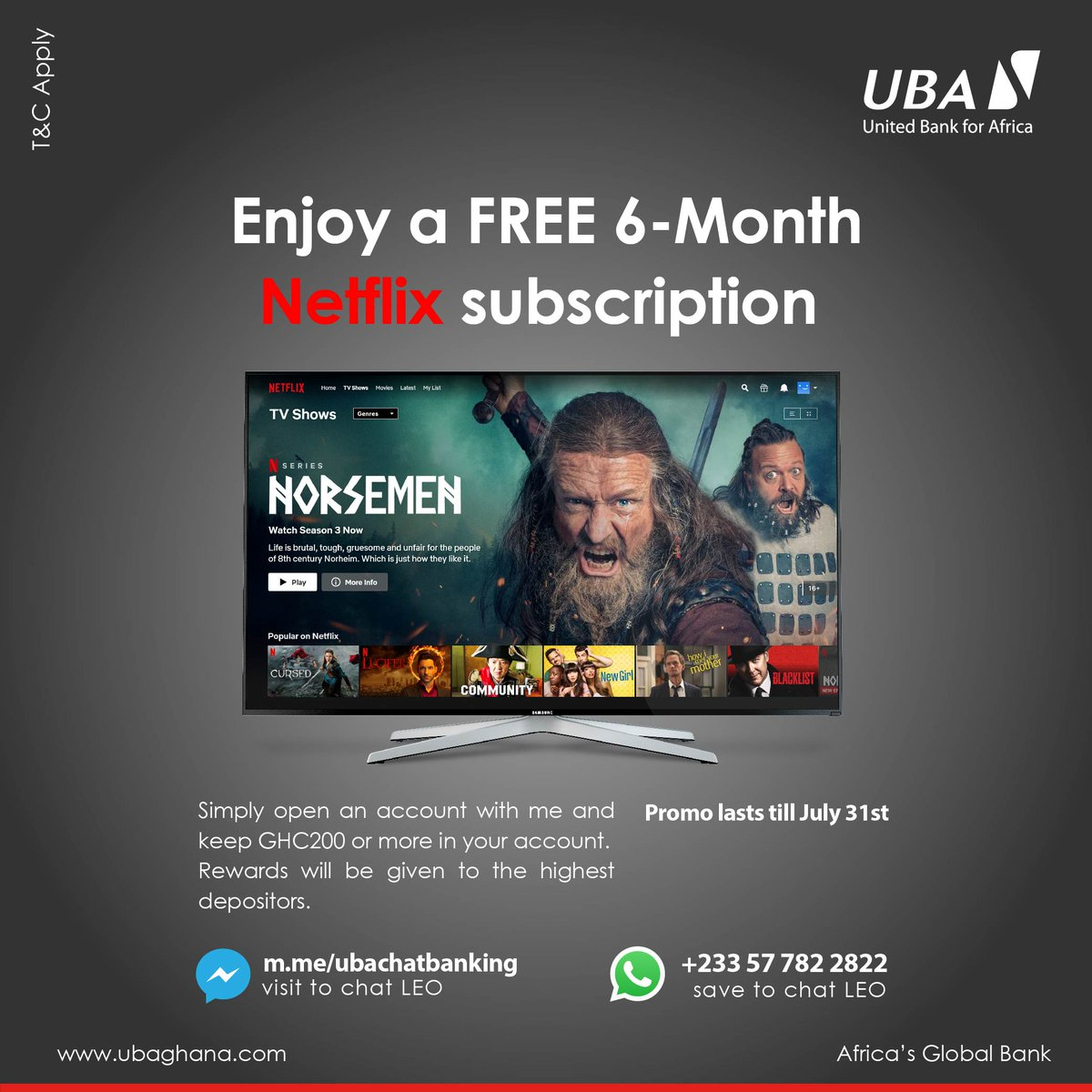 Enjoy free @Netflix for 6 months by simply opening an account with Leo and keeping GHC200 or more.  Click here to get started: https://t.co/WQRsdRdgXJ #StaySafe #LeoMagic #AfricasGlobalBank https://t.co/RYyBIHd5MW