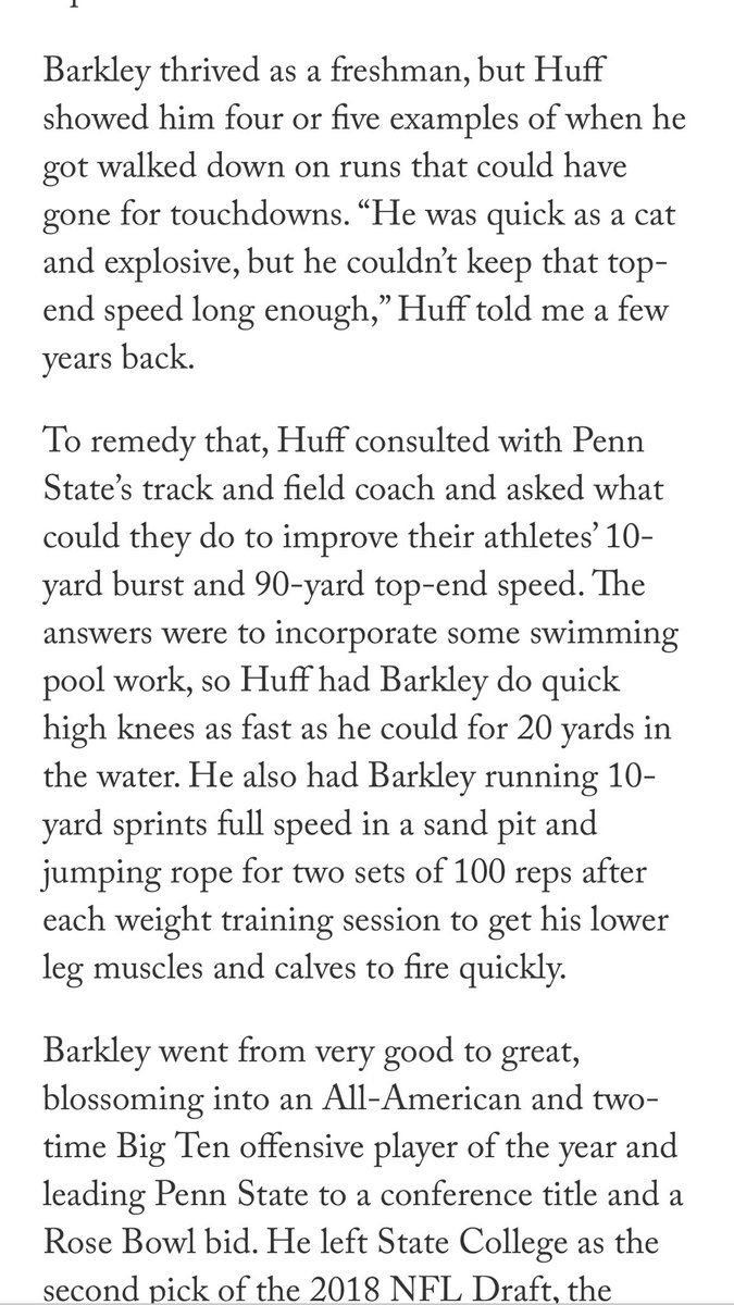 Good example of coaches learning from other sports. Penn State football coach consulting with Track coach to improve #SaquonBarkley burst and top end speed.  @BruceFeldmanCFB  #playerdevelopmentpic.twitter.com/UHsosSJbyH