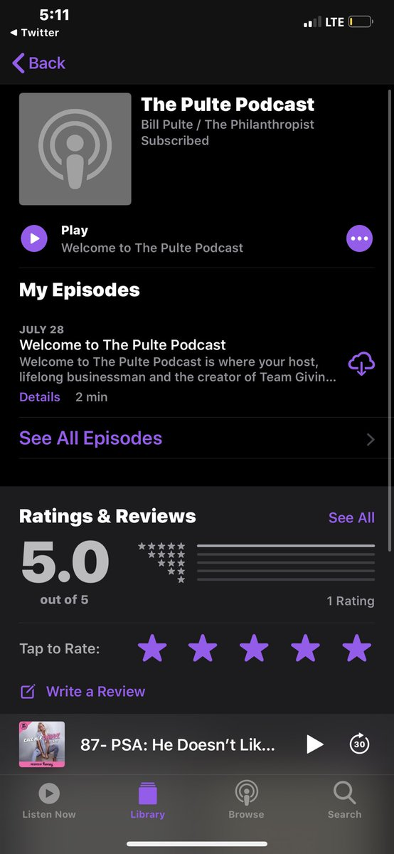 @pulte bye bye call her daddy & hello pulte podcast  #teampulte #5stars $brianazielinski pic.twitter.com/Oh7ueV3CXu