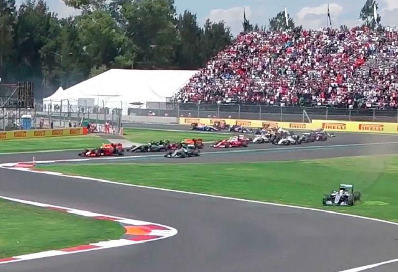 Arrancada del México GP en 2016 cuando Lewis Hamilton cortó la pista al perder la frenada al final de la recta principal y no fue sancionado  #mexicogp #ahr https://t.co/r7DAmUNLzg