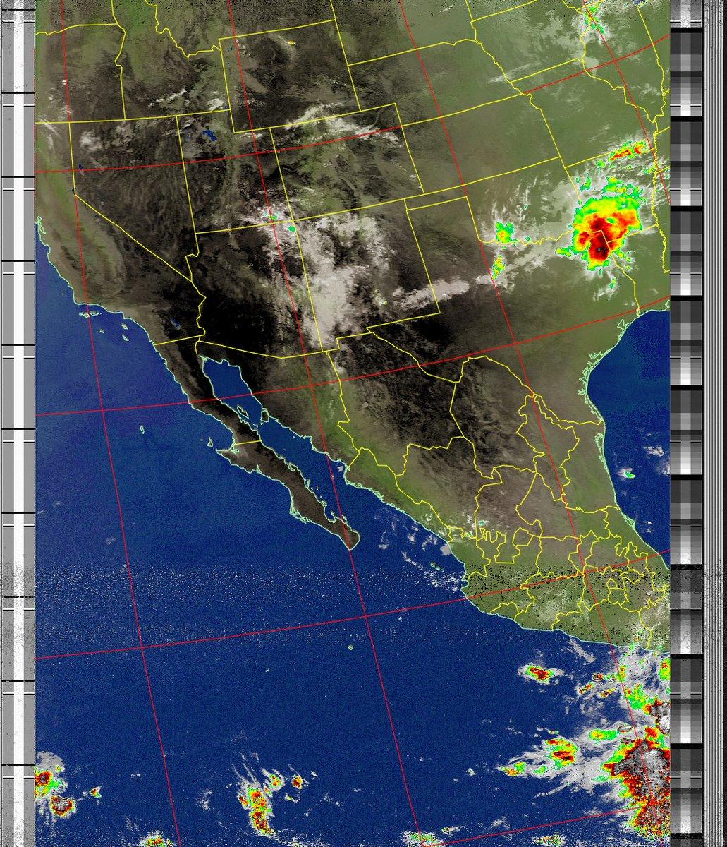 Satellite Image: NOAA 18 05-08-2020 11:47. Max Elevation: 41 Degrees. #NOAA #weather #TXlisteningpostimages #noaasatellite #RTLSDR #raspberrypipic.twitter.com/fevP2kCZFG