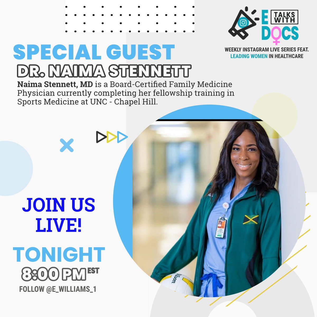 E Talks With Docs returns tonight at 8PM on IG Live! To my new followers, welcome! Dr. Stennett is a former Volleyball player of the Jamaica National Volleyball Team and NCCU Volleyball team. She's currently a Sports Medicine Fellow at UNC! Reply with questions! #ETalksWithDocs https://t.co/5EUhLhXkPW