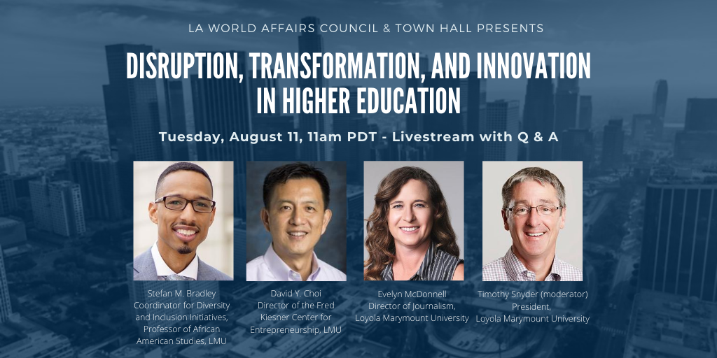 With the fall semester right around the corner, what will the future hold for #highered? Join our panel of experts from @LoyolaMarymount: @LMUSnyder, @ProfSBradley, @EvelynMcDonnell, and David Choi. Register here: buff.ly/30wBwEU @LMU_EC @LMUCBA @LMUBellarmine