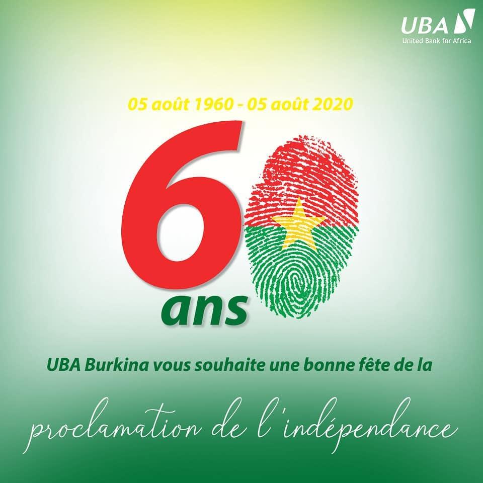 @UBARDC souhaite une bonne fête d'indépendance à toute la communauté burkinabé de la RD Congo. La banque UBA est présente au Burkina Faso à @UBABurkina.  #AfricasGlobalBank #UnitedBankforAfrica #UBARDC https://t.co/eMX2zP80dq