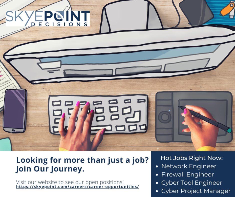 SkyePoint Decisions is actively hiring for the next step in your career! Visit our website to see our open positions: https://skyepoint.com/careers/career-opportunities/ …   #WereHiring #JoinOurJourney #ITJobs #ClearedJobs #Cybersecurity #NetworkEngineer #Firewalls #CyberToolspic.twitter.com/62jkWoMJ3w