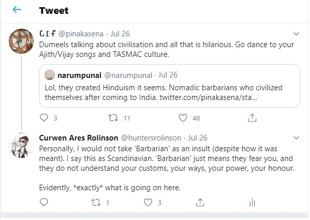 """The time has come, I think, to 'reclaim' the term """"Barbarian"""".   People use it to mean """"I can disregard your views, your values, your heritage"""", implying stupidity. Yet in truth, it is statement of fear - they *know* that they cannot ignore, so they denigrate. Take back the term. pic.twitter.com/nczZzXXUI9"""