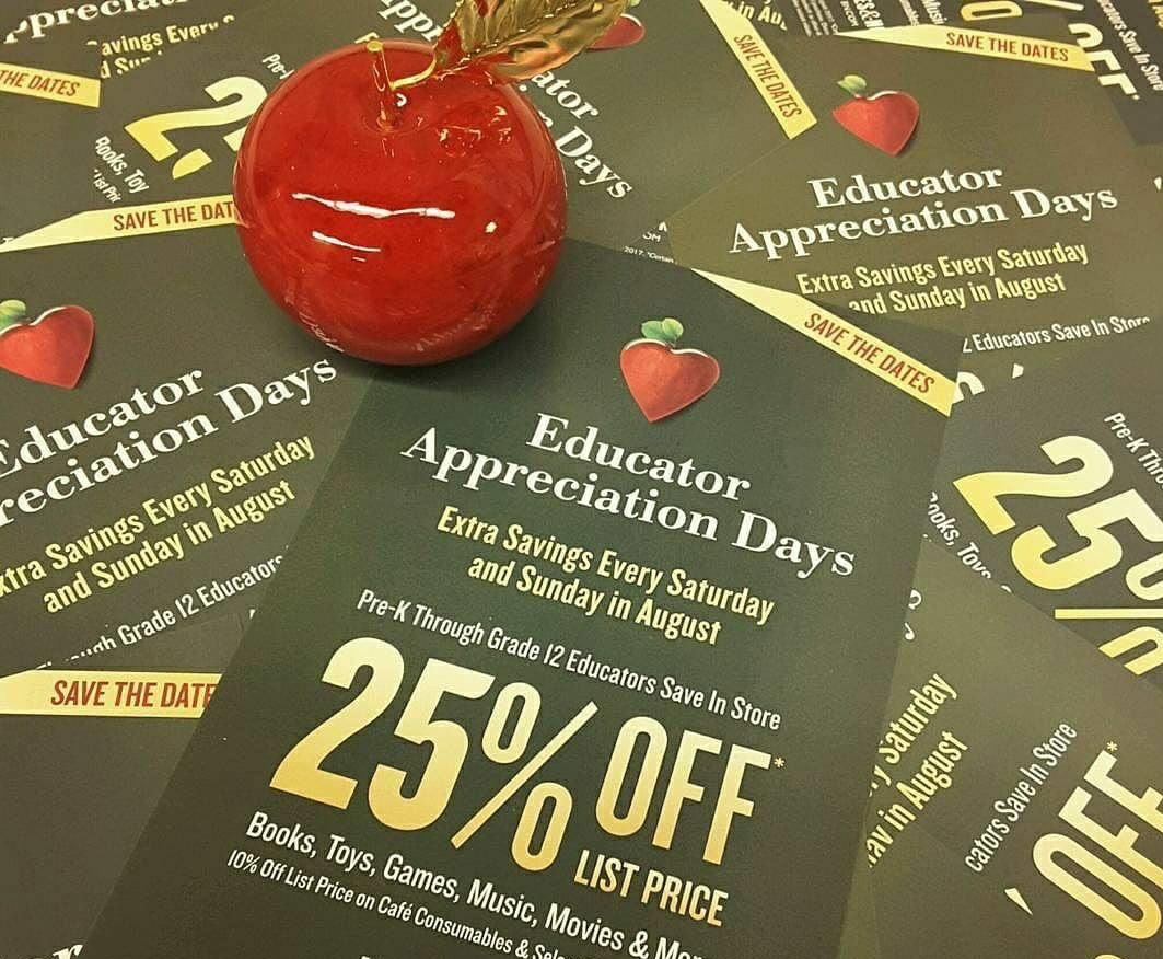 We want to give a special THANK YOU to our PreK-12th grade #educators, whether they are #teaching in person or by #distancelearning, by offering an 25% discount on most items in the store, every Saturday and Sunday in August! #educatorappreciation #educatorappreciationdays https://t.co/8XJiCq4ZnC