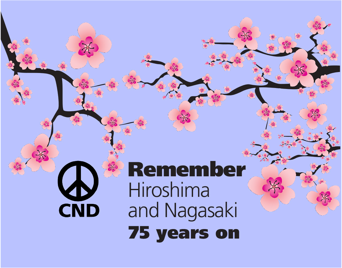 At 08:15 tomorrow, we will mark the moment that an atomic bomb devastated the city of Hiroshima 75 years ago. To join us: 🌸 Pause for a silent moment of remembrance 🌸 Take a photo of yourself with our poster 🌸 Post using #Hiroshima75 or send to us cnduk.org/peacewave/