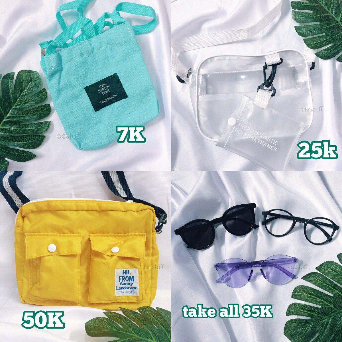 new: - slingbag tosca - slingbag transparant - kacamata ungu sisa nya preloved, angkut yuk bisa free ong shopee pic.twitter.com/SgZF9uUYIn