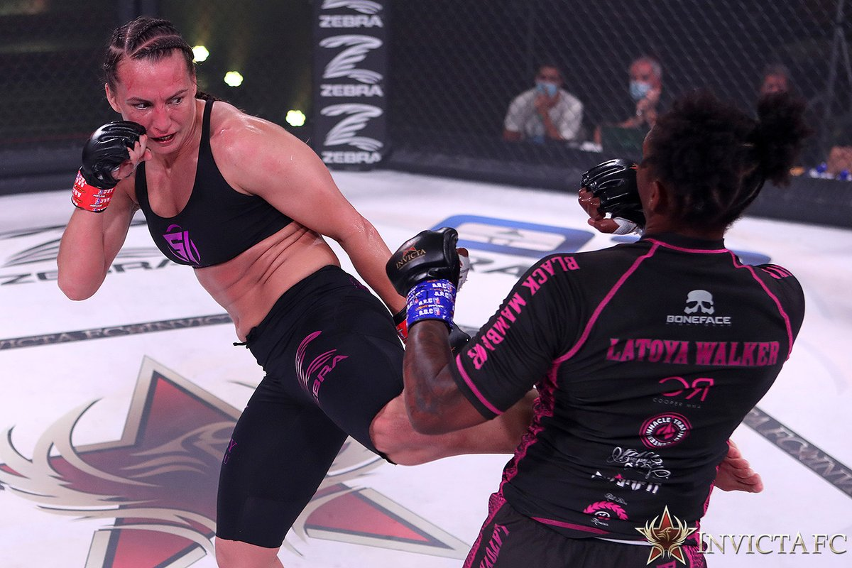 """""""I didn't train them [leg kicks] at all. That wasn't in my game plan at all but I like low kicks so when it was there I was like well, lets stay on that leg."""" - @kaitlin_young #InvictaFC41  Watch the full post-fight interview here: https://t.co/wZrjV0tlmM https://t.co/Zj0h1IjwLD"""