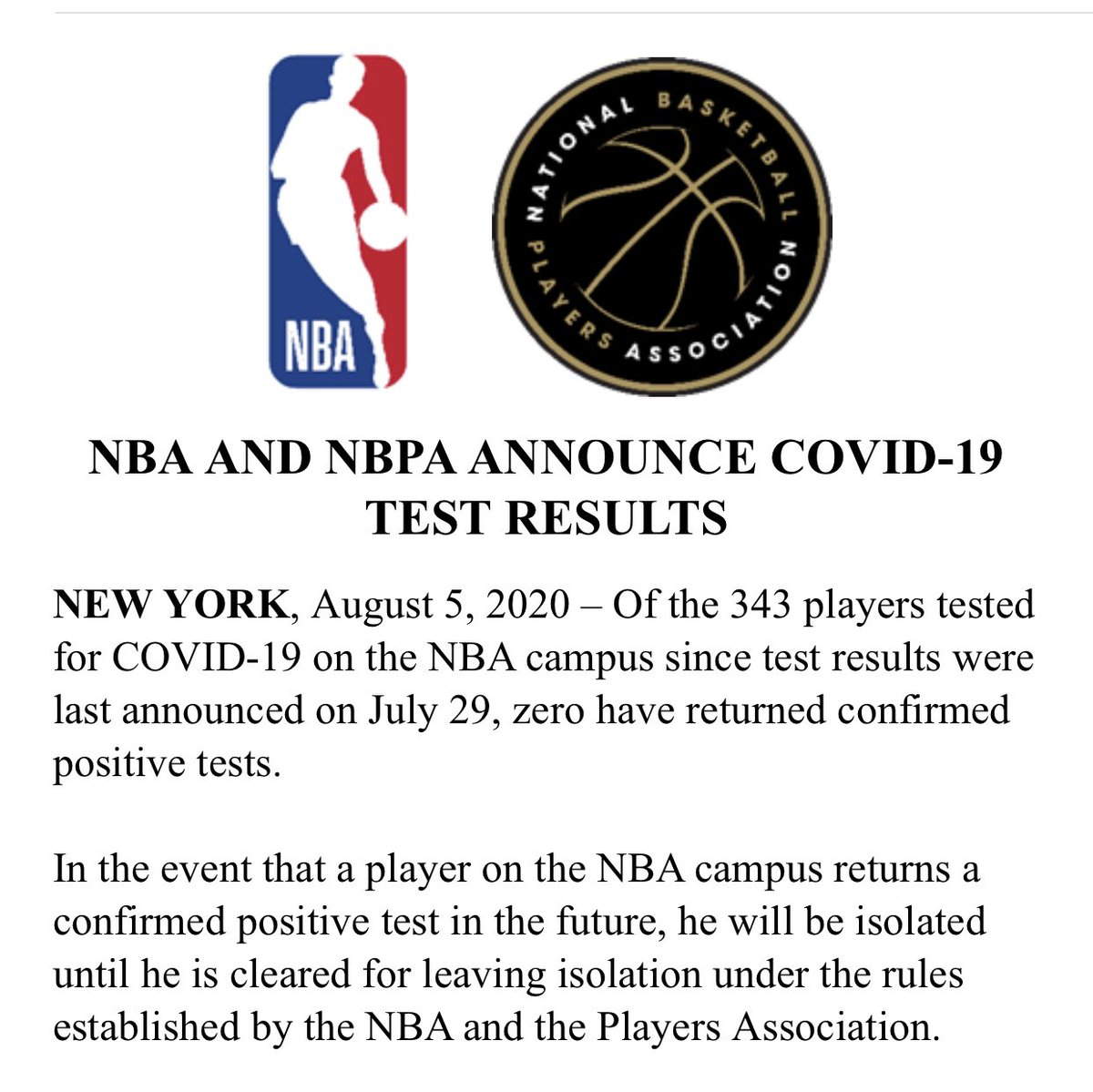 Testing update from the NBA: Of the 343 players tested daily since the league last announced results on July 29 ... zero confirmed positive tests https://t.co/A5NgMoBUEV