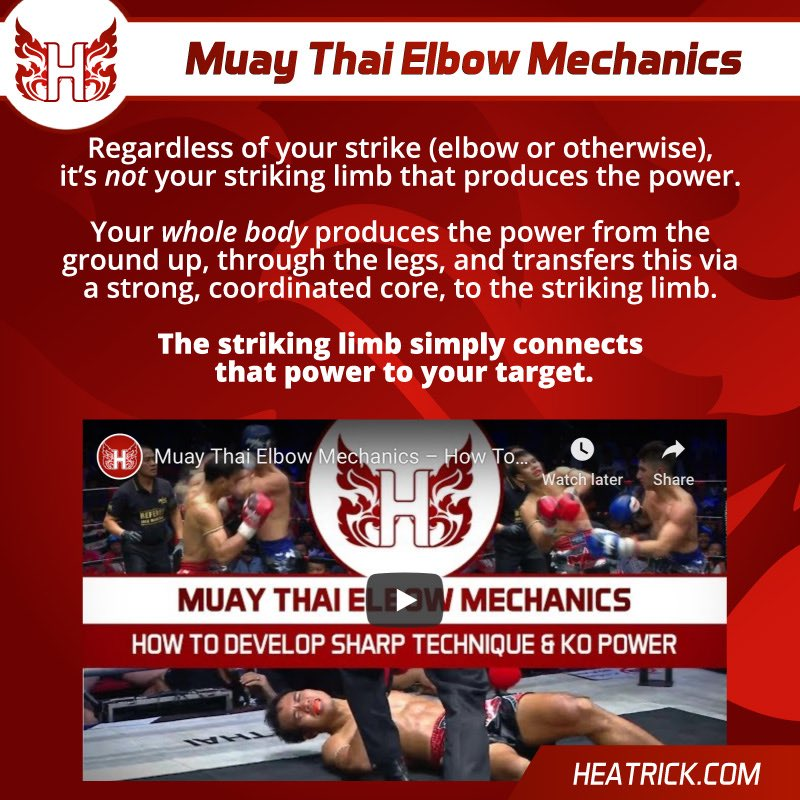 In this video I breakdown one of the most feared weapons in Muay Thai. The elbow. https://heatrick.com/2018/11/29/muay-thai-elbow-mechanics/ …  #muaythai #muaythaitraining #muaythaielbow #elbowstrike #howto #ko #biomechanicspic.twitter.com/wGXHGFzbax