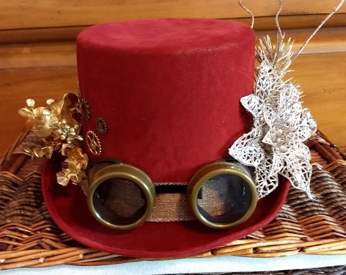 Excited to share from my #etsy shop: Ladies #Red and #Gold #Victorian #Christmas #Steampunk / #Steam #Punk #TopHat #Brass Colored #Goggles for $80! #pointsetia #sparkle https://t.co/rcnnRwMzHT