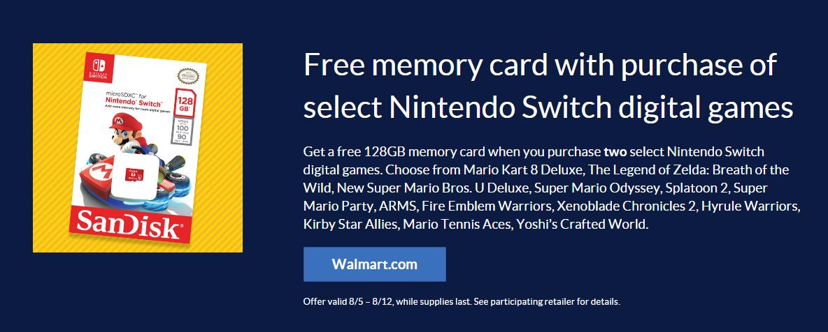 Buy 2 select Switch digital games at Walmart, get a free 128GB microSDXC card 2