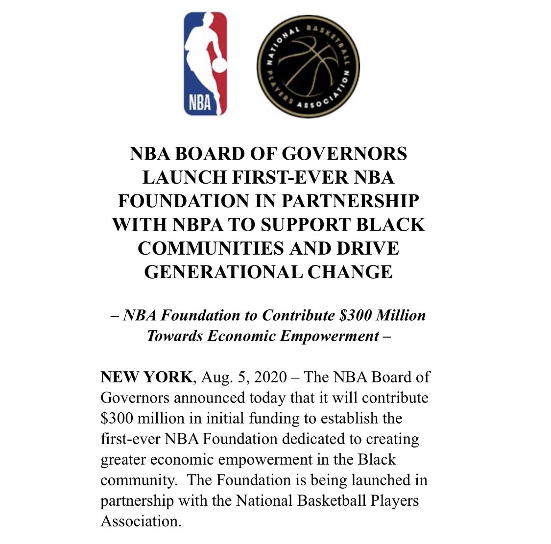 Big news from the NBA & NBPA, pledging $300 million towards economic empowerment in the Black community. https://t.co/kqgAOZHvPu