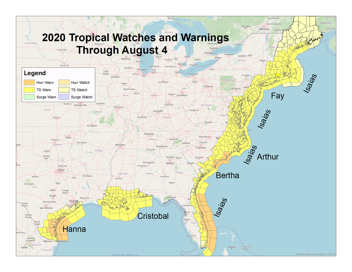 Its been an active tropical season so far. We made a map showing all areas that have had watches and warnings for hurricane, tropical storm or storm surge so far this season. Remember, were only approaching the peak of the season which runs from late Aug into mid Sept! #txwx