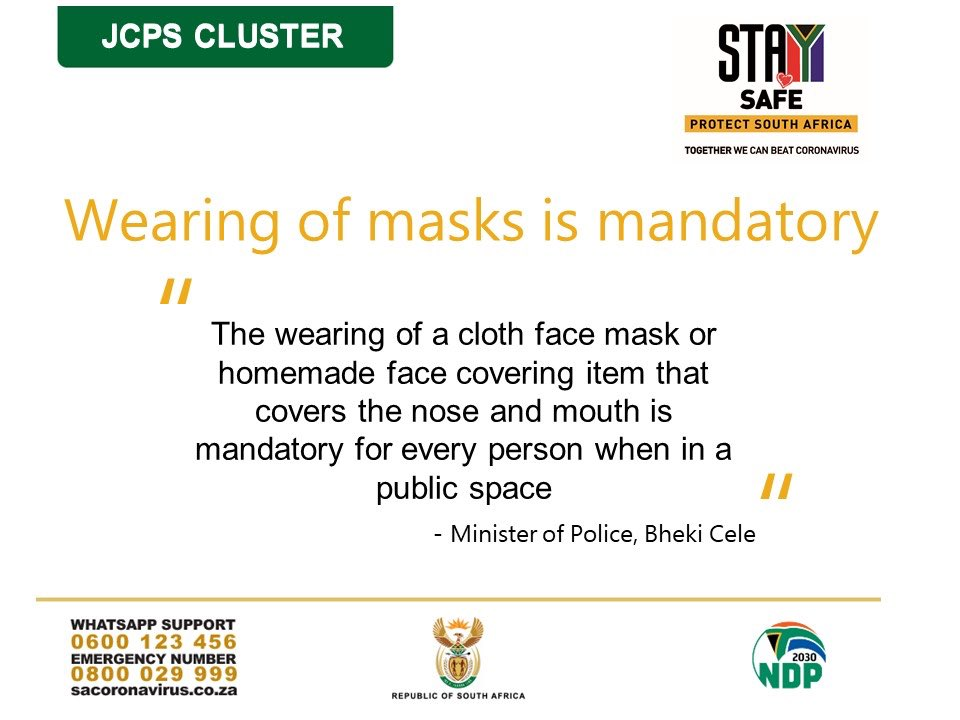 Wearing masks in public is mandatory. Make sure you have enough masks for yourself, your family as well as your employees. Visit our PPE portal for local mask manufacturers closest to you. Go to https://t.co/Q1GCOscf70   #BuyLocalToCreateJobs #BuySouthAfrican https://t.co/Hc6WzI65QL