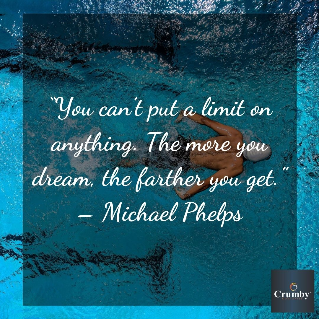 """You can't put a limit to anything. The more you dream, the farther you get."" - Michael Phelps #quote #quoteoftheday #wisdomwednesday #jewels #inspirationaljewels #inspiration #motivation #life #limit #dream #farther #michaelphelpspic.twitter.com/KhGgQeLVnb"