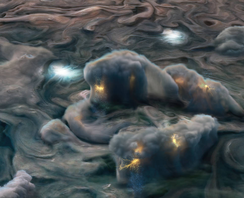 """⚡️ New results from @NASAJuno suggest Jupiter is home to """"shallow lightning."""" An unexpected form of electrical discharge, it comes from an ammonia-water solution, whereas lightning on Earth originates from water clouds: https://t.co/iA3ksVJNR3 https://t.co/VXX8hetH0O"""