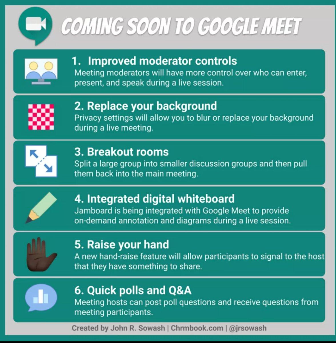 Love these new #GoogleEdu Google Meet updates! Thanks for the graphic @jrsowash