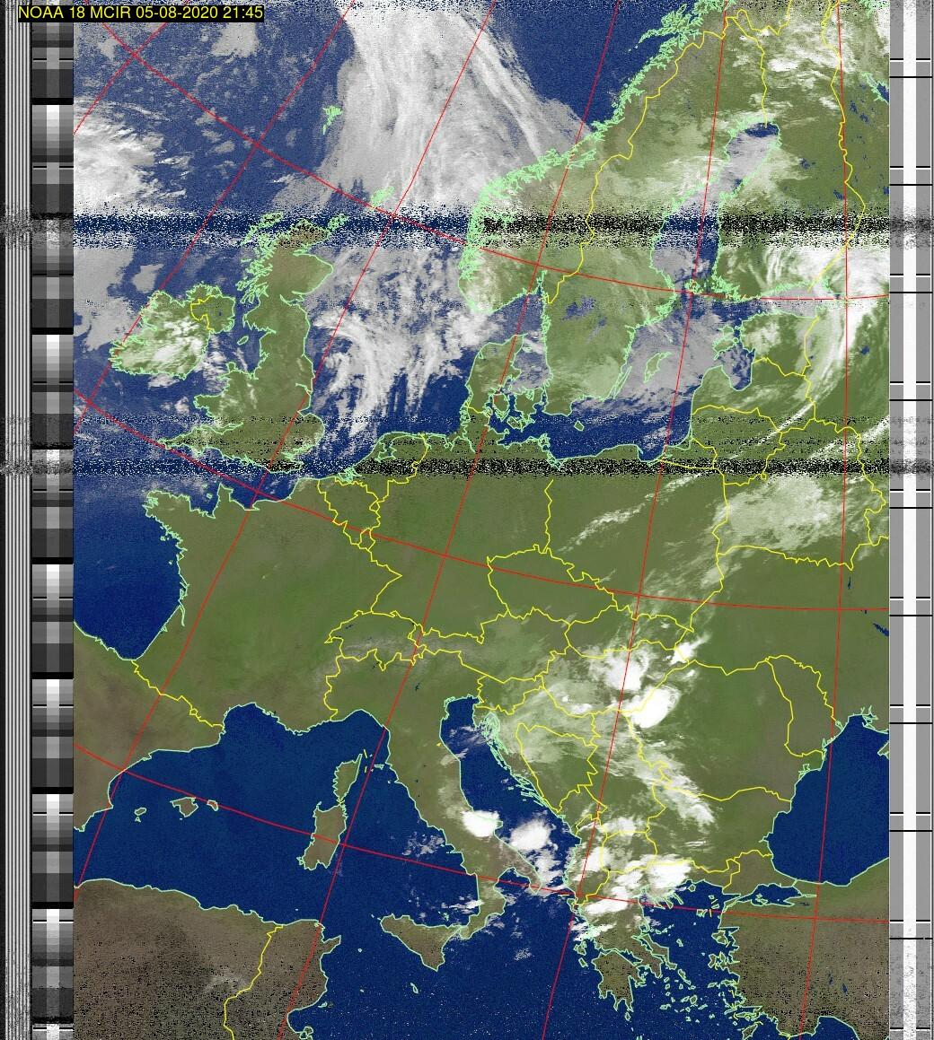 Wetter Satellit: NOAA 18 05-08-2020 21:45. Elevation maximal: 77 Grad. #NOAA #weather #noaasatellite #clima #wxtoimg #rtlsdr #raspberrypi #germany #wetterpic.twitter.com/BHpZKzM5T8