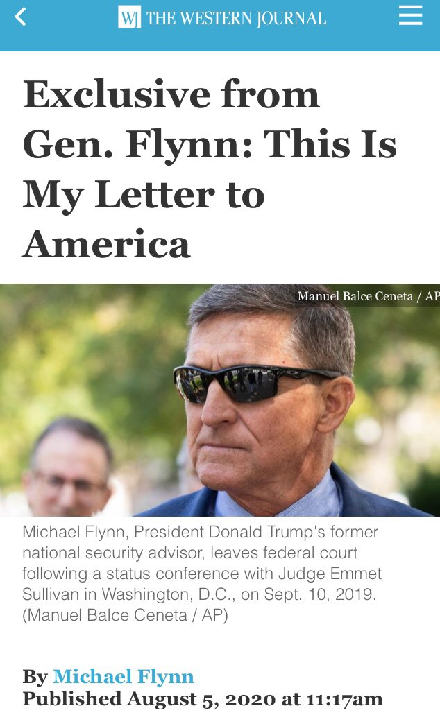 "Meanwhile, Flynn has written another bizarre letter in this ""Christian"" publication, which is a giant dogwhistle to QAnon and a not-very-subtle call to arms against the enemies of the president, who are ""evil""  ""Dark forces""  ""Evil forces""  Totes normal from fmr DIA head /1 https://t.co/4ihOclrosM"
