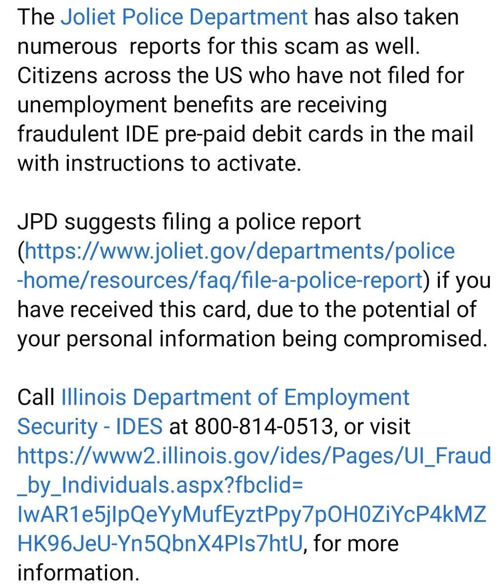 Joliet Police Department On Twitter Scam Alert Jolietpolice Have Taken Numerous Reports Regarding Fraudulent Unemployment Benefit Pre Paid Debit Cards From Illinoisides Https T Co Hq64njjnzo