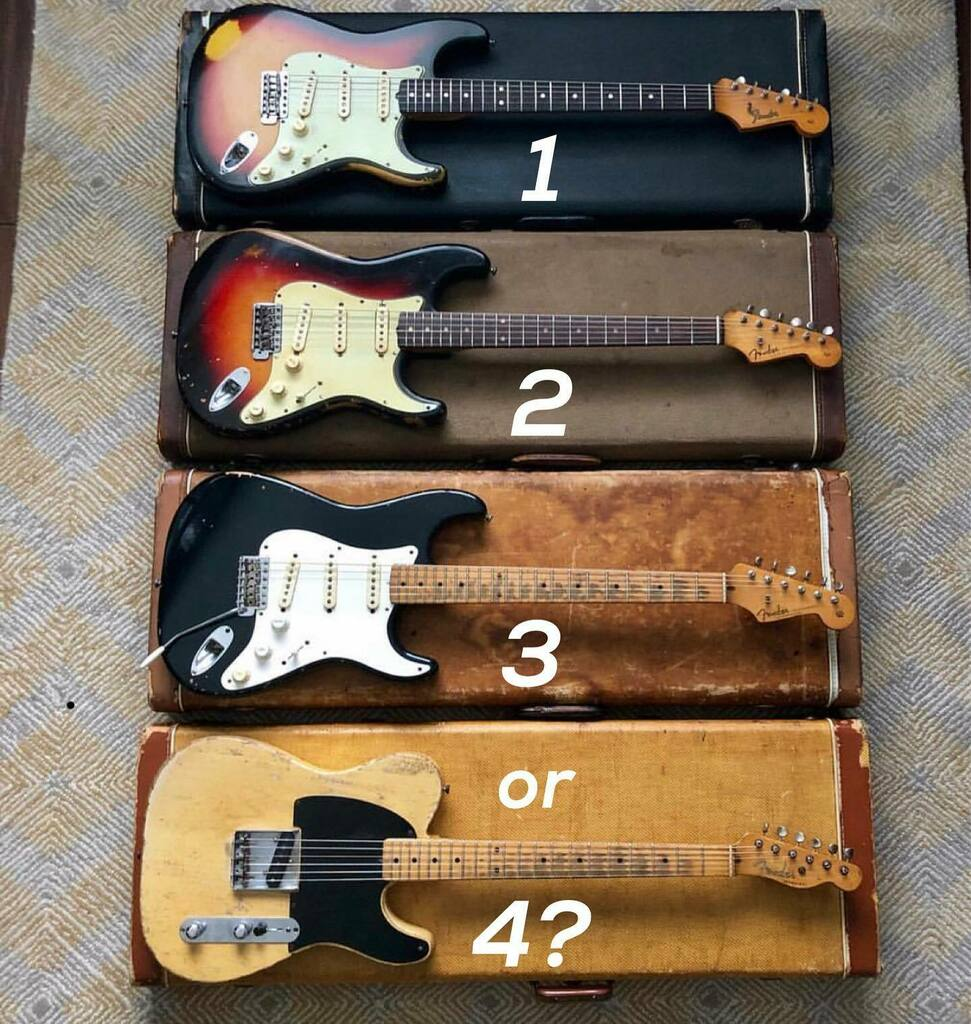 Which one would you pick?  1. '64 Stratocaster  2. '61 Stratocaster  3. '59 Stratocaster  4. '54 Esquire Always love @aaron_hiebert pics! #stratocaster #fenderstratocaster #strat #fenderstrat #fenderesquire #esquire #guitarbattle #fender #fenderguitars #… https://instagr.am/p/CDhRfWeAClA/ pic.twitter.com/C2s7oMuZ4P